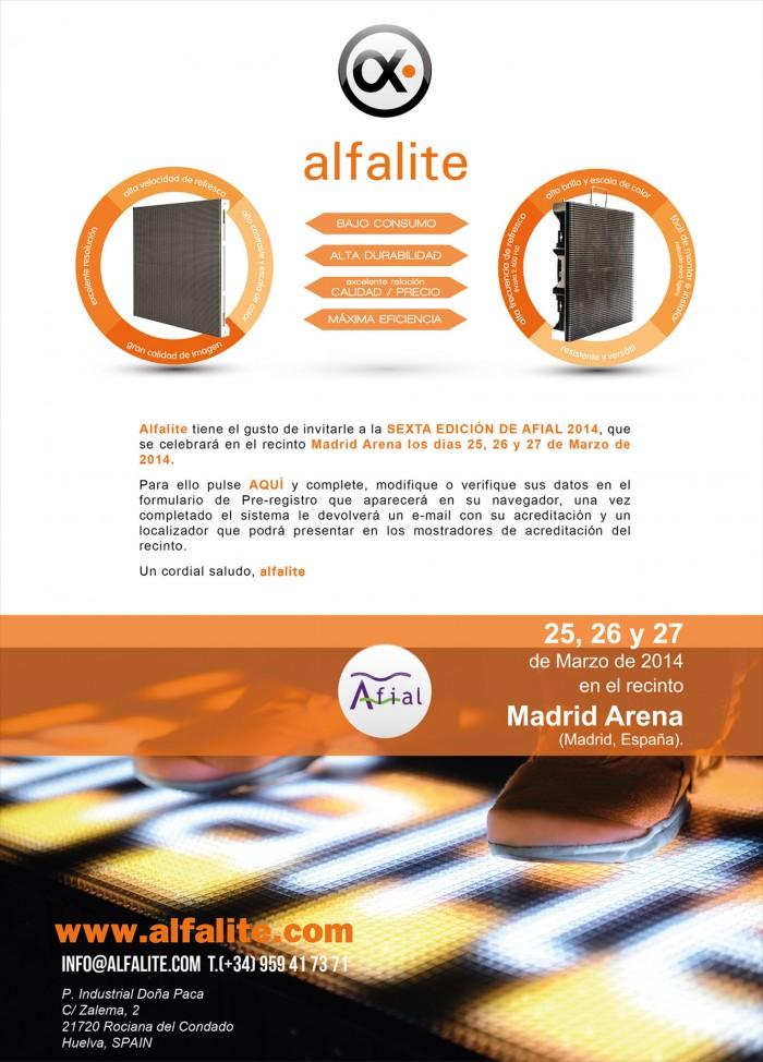 Invitación de Alfalite para la Feria Afial 2014 en Madrid