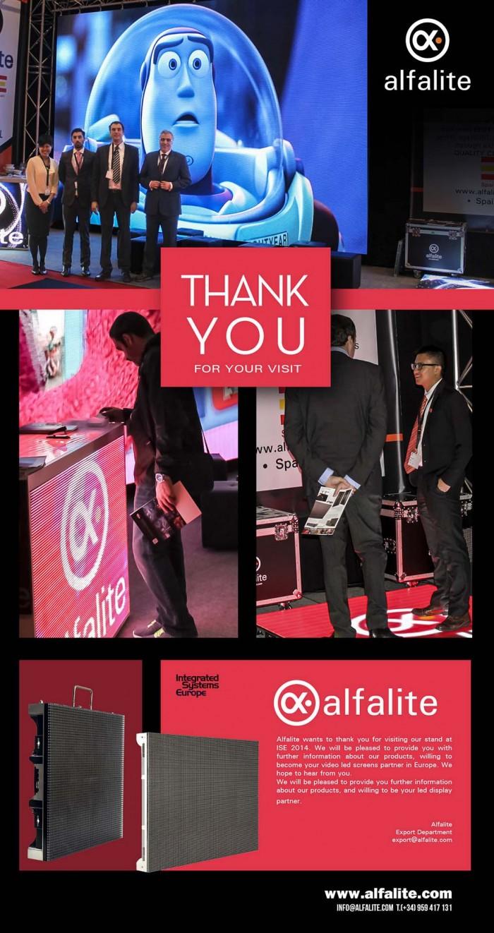 Agradecimiento por la visita al stand de Alfalite en la Feria ISE 2014