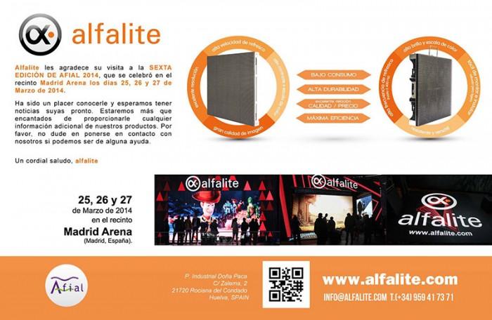 Agradecimiento de Alfalite por la asistencia a su stand en la feria Afial 2014