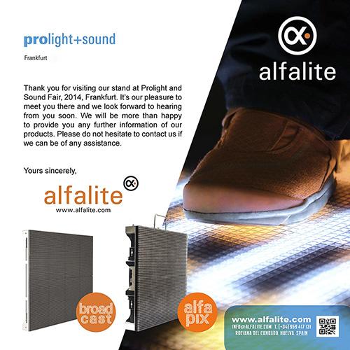 Agradecimiento Prolight+Sound 2014